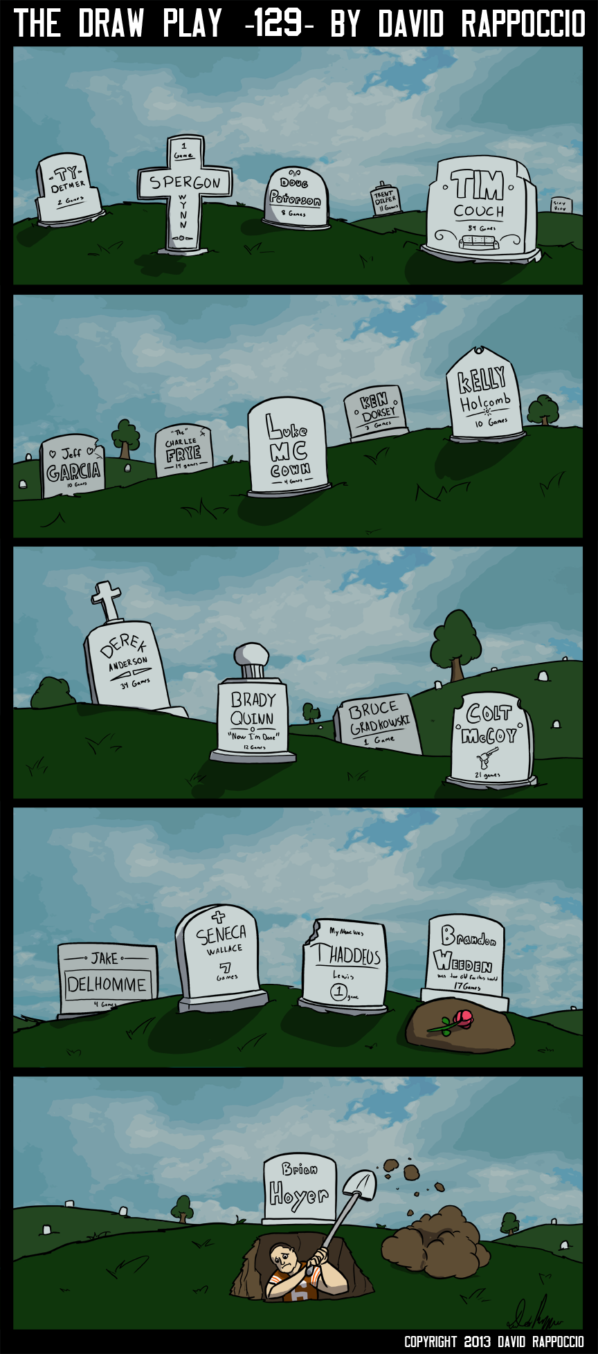 I was tempted to make the headstones all toilets, but felt that was a bit overboard for my special devoted week of making jokes about how horrible it is to be a Cleveland Browns fan