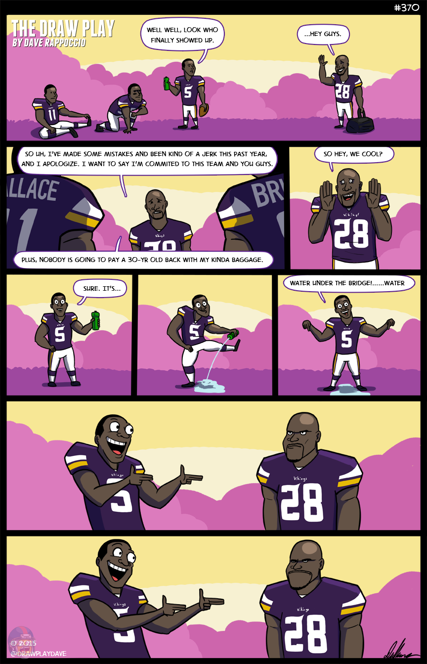 Adrian Peterson walks into a Barr. he apologizes, didn't see Anthony standing there.