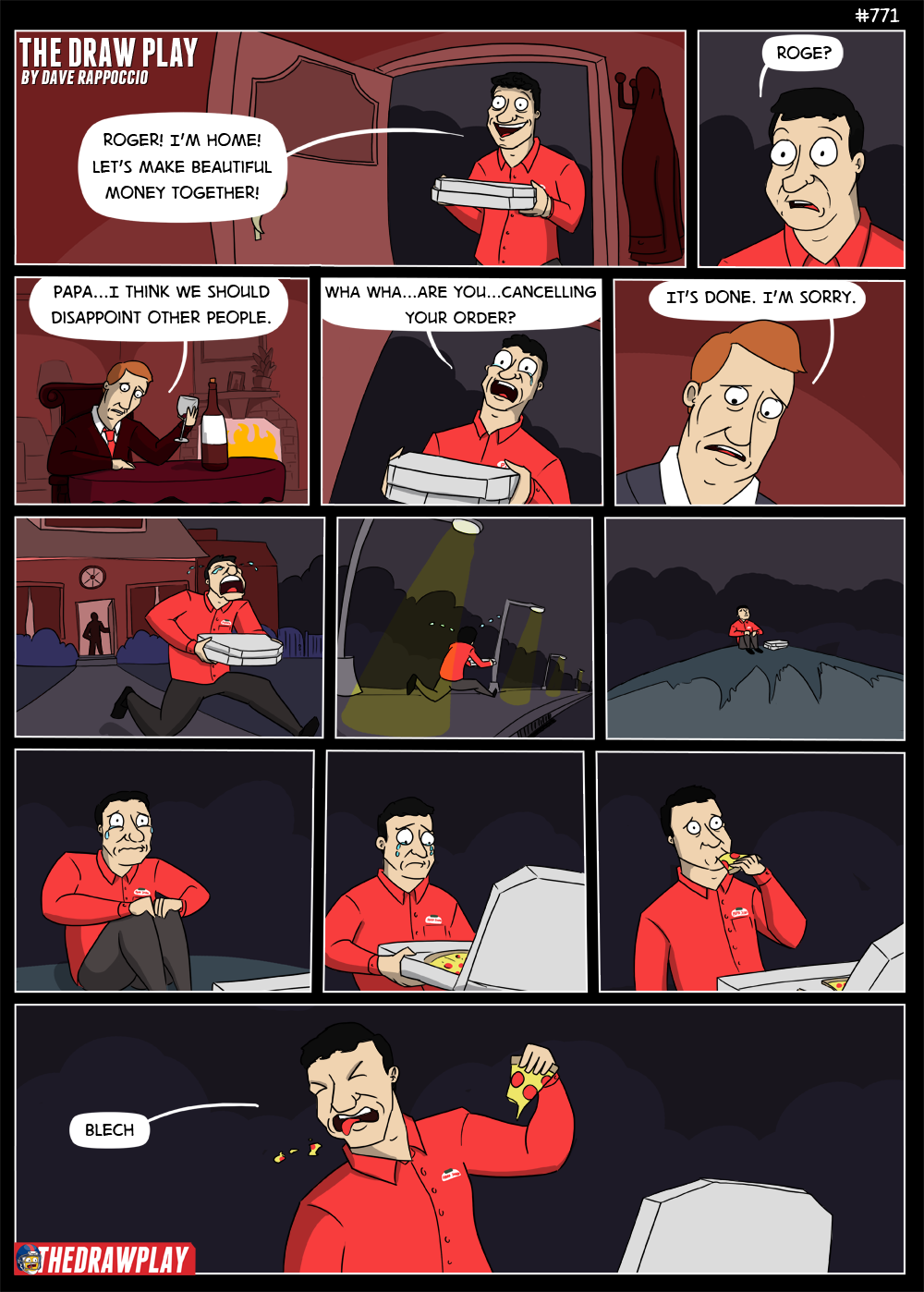 If I had started this comic later I would have changed it to be the same thing, but Goodell is making out with pizza hut box in the 3rd panel
