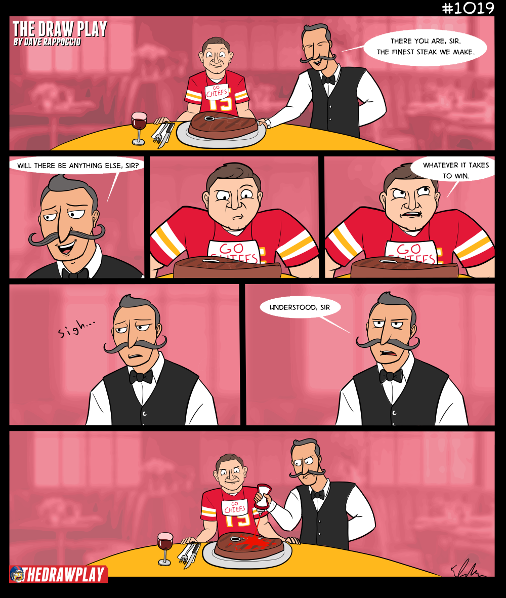 Now the real crime is if Mahomes not only puts Ketchup on his steak but he calls it Catsup too